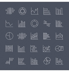 Set of chart icons in thin lines vector