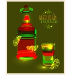 Bottle of tequila and shot with lime abstract vector