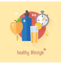 Healthy lifestyle flat  food water vector