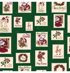 Vintage holiday stamps green christmas vector