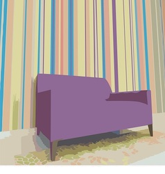 Chair stands against the colorful wall vector