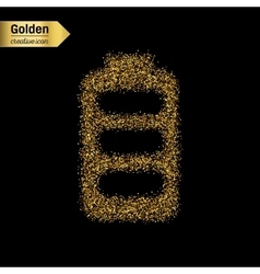 Gold glitter icon of battery isolated on vector