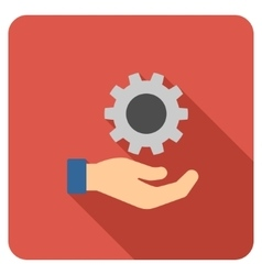 Engineering service flat rounded square icon with vector