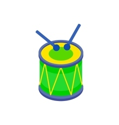 Drum and drumsticks icon in isometric 3d style vector