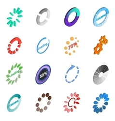 Loading icons set isometric 3d style vector
