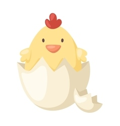 Cartoon yellow newborn chicken in the broken egg vector