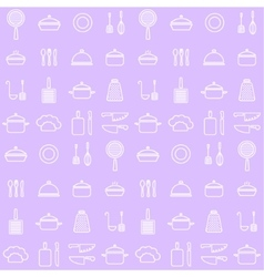 Seamless line kitchen icons background vector