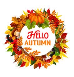 autumn maple leaf pumpkin harvest poster vector image vector image