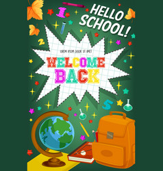 Back to school welcome chalkboard poster vector