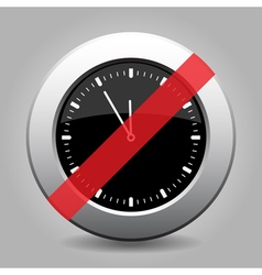 Black metallic button last minute clock ban icon vector