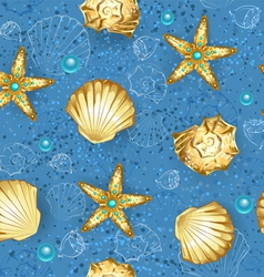 Blue seamless of gold seashells vector image vector image