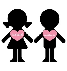 Boy and girl with lovers in hearts vector