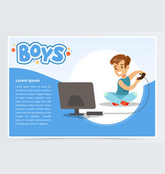 Boy with remote control playing video game console vector