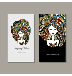 Business cards design zenart female portrait vector