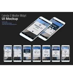 Calendar mobile app widgets ui designs with vector