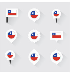 Chile flag and pins for infographic and map design vector