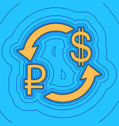 Currency exchange sign ruble and us dollar vector