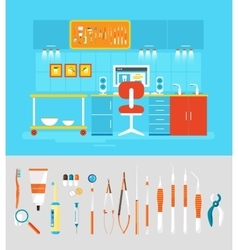 Dental office PC set instruments vector image