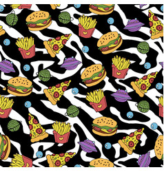 fastfood seamless pattern vector image vector image