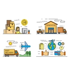 flat logistics and delivery vector image vector image