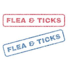 Flea ticks textile stamps vector