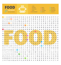 food thematic collection of line icons vector image