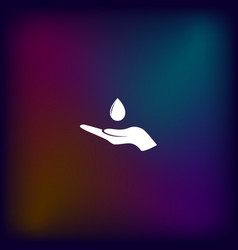 hand and water drop icon vector image vector image