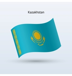 Kazakhstan flag waving form vector image