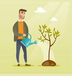Man watering tree vector