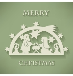 Nativity scene Paper cut Christmas background vector image vector image