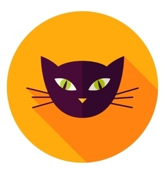 Night cat face circle icon vector