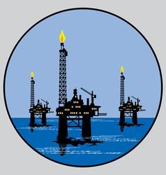 petroleum platform emblem vector image