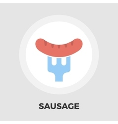 Sausage on a fork icon flat vector image vector image