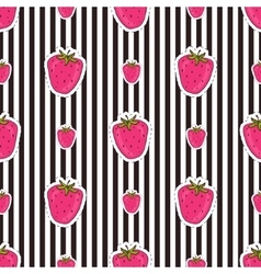 Seamless strawberry patter on striped background vector