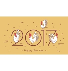 Set roosters on a beige background with geometric vector
