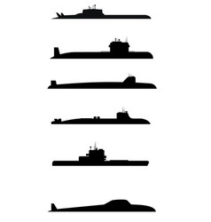 six submarine silhouettes vector image