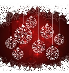 snowflakes background red vector image