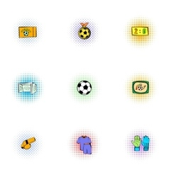 Soccer icons set pop-art style vector