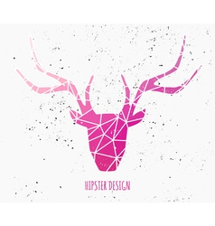 Stylized deer head with pink triangles design vector