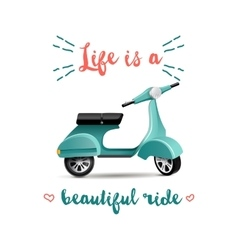 Summer time background with scooter vector image