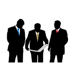 three businessmen architects oe engineers vector image vector image