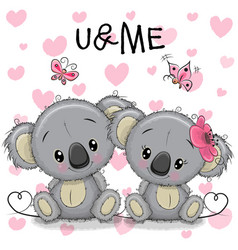 two koalas on a hearts background vector image vector image
