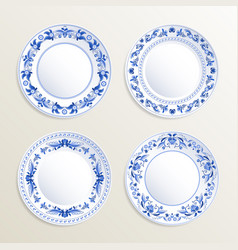 vintage plates painted at gzhel style vector image