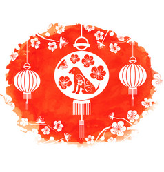 watercolor frame with lanterns and earthen dog vector image vector image