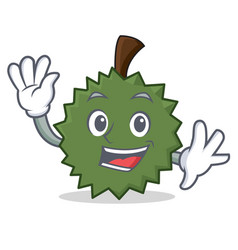 waving durian character cartoon style vector image vector image