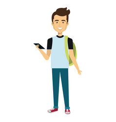 young man with smartphone casual avatar vector image