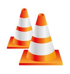 colorful realistic striped couple traffic cone vector image