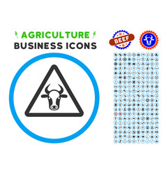 Cow danger rounded icon with set vector