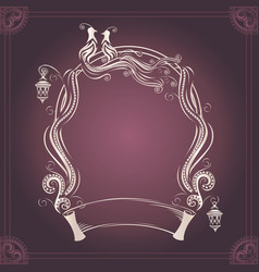 Vintage wedding frame with bird vector