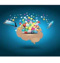Colorful application icon with brain vector image